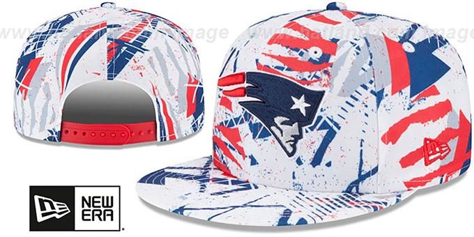 Patriots 'GEOMET TRICK SNAPBACK' Hat by New Era : pictured without stickers that these products are shipped with