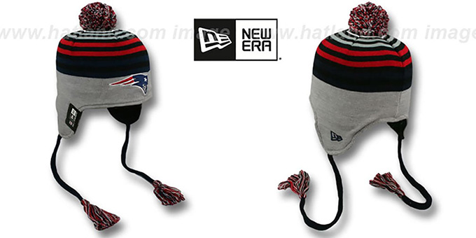 Patriots 'GREY STRIPETOP' Knit Beanie Hat by New Era : pictured without stickers that these products are shipped with