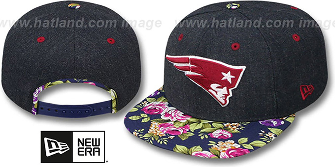 Patriots 'HEATHER BLOOM SNAPBACK' Navy Hat by New Era : pictured without stickers that these products are shipped with