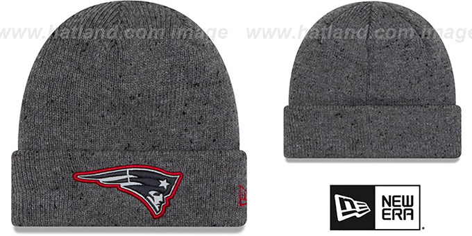 Patriots 'HEATHERED-SPEC' Grey Knit Beanie Hat by New Era : pictured without stickers that these products are shipped with