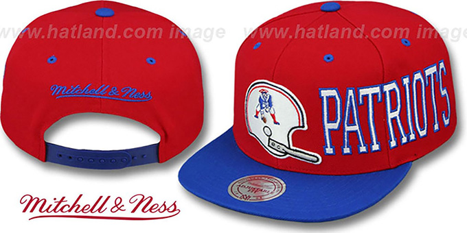 Patriots 'HELMET-WORDWRAP SNAPBACK' Red-Royal Hat by Mitchell and Ness : pictured without stickers that these products are shipped with