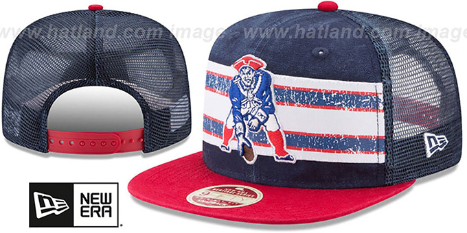 Patriots 'HERITAGE-STRIPE SNAPBACK' Navy-Red Hat by New Era : pictured without stickers that these products are shipped with