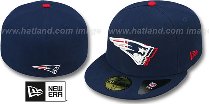 Patriots 'ILLUSION' Navy Fitted Hat by New Era : pictured without stickers that these products are shipped with