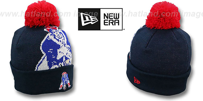 Patriots 'KIDS THROWBACK NFL-BIGGIE' Navy Knit Beanie Hat by New Era : pictured without stickers that these products are shipped with