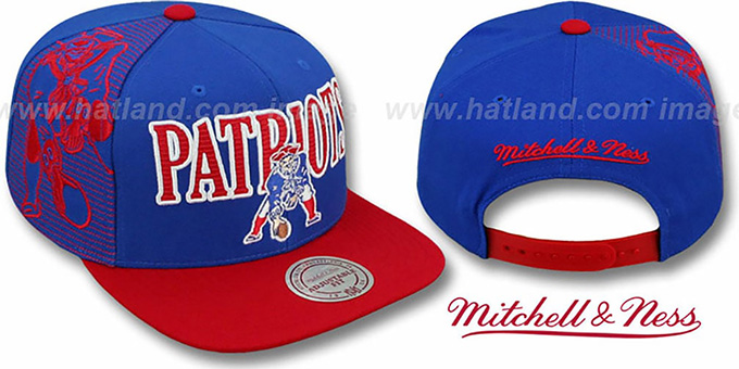 Patriots 'LASER-STITCH SNAPBACK' Royal-Red Hat by Mitchell & Ness : pictured without stickers that these products are shipped with