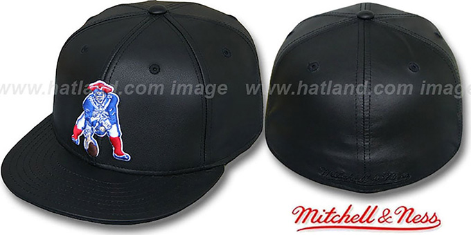 Patriots 'LEATHER THROWBACK' Fitted Hat by Mitchell and Ness : pictured without stickers that these products are shipped with
