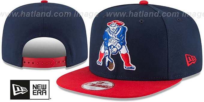Patriots 'LOGO GRAND REDUX TB SNAPBACK' Navy-Red Hat by New Era : pictured without stickers that these products are shipped with