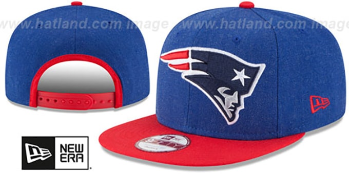 Patriots 'LOGO GRAND SNAPBACK' Royal-Red Hat by New Era : pictured without stickers that these products are shipped with