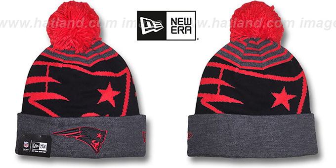 Patriots 'LOGO WHIZ' Black-Charcoal Knit Beanie Hat by New Era : pictured without stickers that these products are shipped with