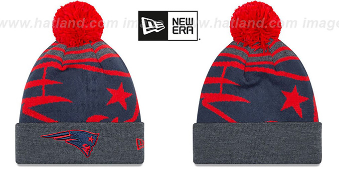 Patriots 'LOGO WHIZ' Navy-Charcoal Knit Beanie Hat by New Era : pictured without stickers that these products are shipped with