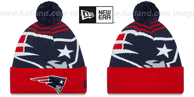 Patriots 'LOGO WHIZ' Navy-Red Knit Beanie Hat by New Era : pictured without stickers that these products are shipped with