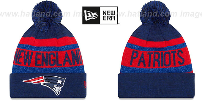 Patriots 'METALLIC STRIPE' Navy-Red Knit Beanie Hat by New Era : pictured without stickers that these products are shipped with
