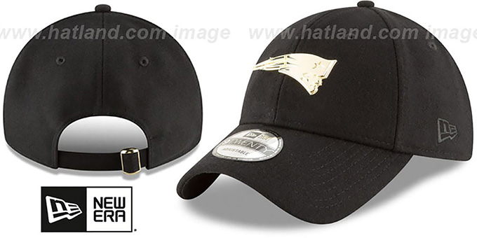 New England Patriots MINI GOLD METAL-BADGE STRAPBACK Black Hat 535f3e11b05