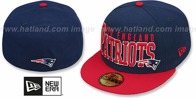 Patriots 'NFL 2T CHOP-BLOCK' Navy-Red Fitted Hat by New Era : pictured without stickers that these products are shipped with
