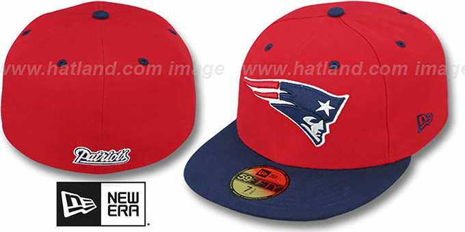 Patriots 'NFL 2T-TEAM-BASIC' Red-Navy Fitted Hat by New Era : pictured without stickers that these products are shipped with