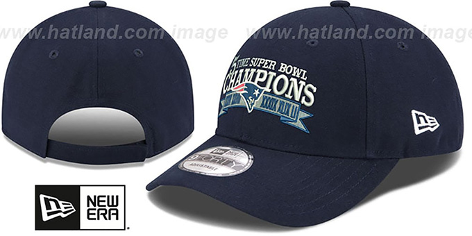 Patriots 'NFL 5-TIME SUPER BOWL CHAMPS' Navy Strapback Hat by New Era : pictured without stickers that these products are shipped with