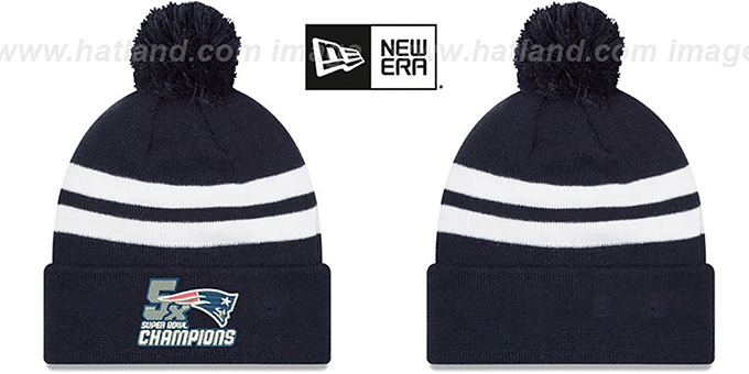 Patriots 'NFL 5X SUPER BOWL CHAMPIONS ' Navy-White Knit Beanie Hat by New Era : pictured without stickers that these products are shipped with