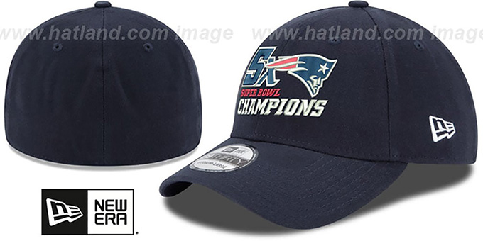 Patriots 'NFL 5X SUPER BOWL CHAMPS FLEX' Navy Hat by New Era : pictured without stickers that these products are shipped with
