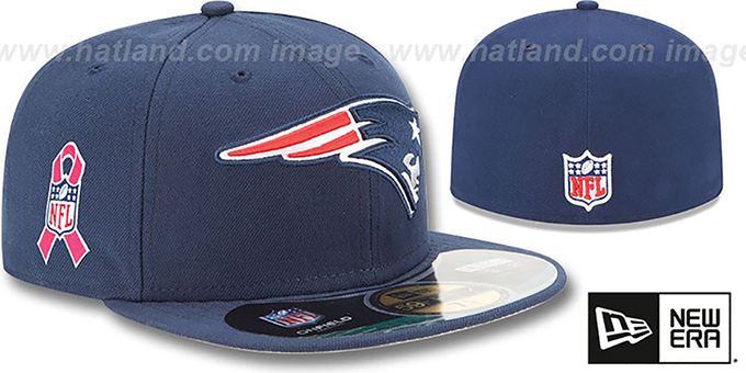Patriots 'NFL BCA' Navy Fitted Hat by New Era : pictured without stickers that these products are shipped with