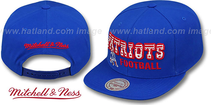 Patriots 'NFL-BLOCKER SNAPBACK' Royal Hat by Mitchell & Ness : pictured without stickers that these products are shipped with