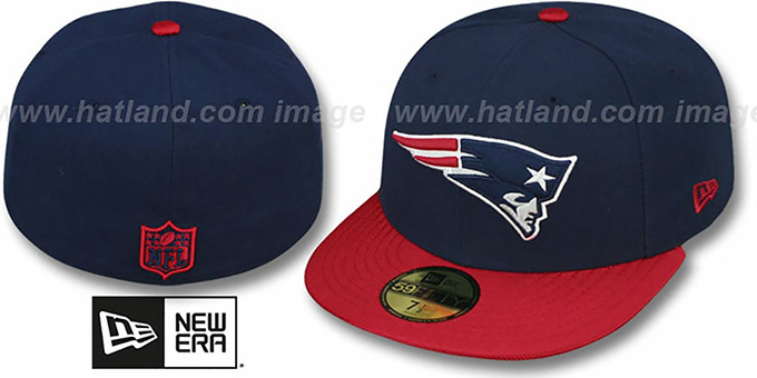 Patriots 'NFL JERSEY-BASIC' Navy-Red Fitted Hat by New Era : pictured without stickers that these products are shipped with