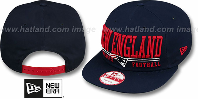 Patriots 'NFL LATERAL SNAPBACK' Navy Hat by New Era : pictured without stickers that these products are shipped with