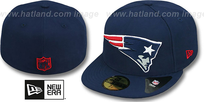 Patriots NFL 'MIGHTY-XL' Navy Fitted Hat by New Era : pictured without stickers that these products are shipped with