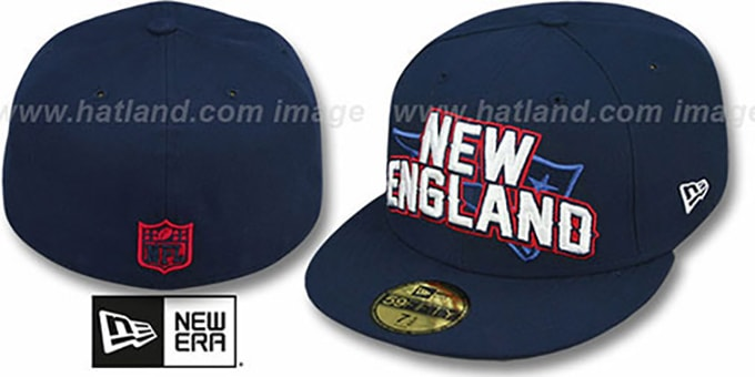 Patriots 'NFL ONFIELD DRAFT' Navy Fitted Hat by New Era : pictured without stickers that these products are shipped with