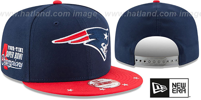 Patriots 'NFL STAR-TRIM SNAPBACK' Navy-Red Hat by New Era : pictured without stickers that these products are shipped with