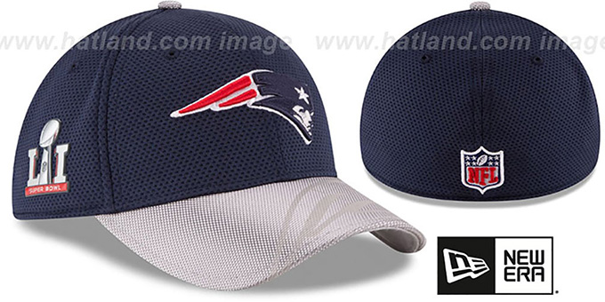 Patriots 'NFL SUPER BOWL LI ONFIELD FLEX' Hat by New Era : pictured without stickers that these products are shipped with