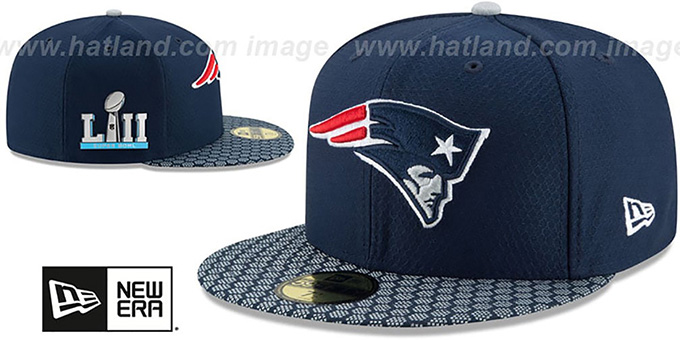 Patriots  NFL SUPER BOWL LII ONFIELD  Navy Fitted Hat by New Era 7072fb9179f5