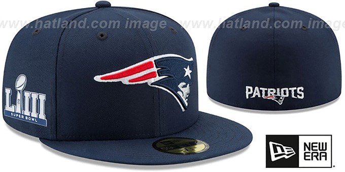 4a390a92b62 Patriots  NFL SUPER BOWL LIII ONFIELD  Navy Fitted Hat by New Era