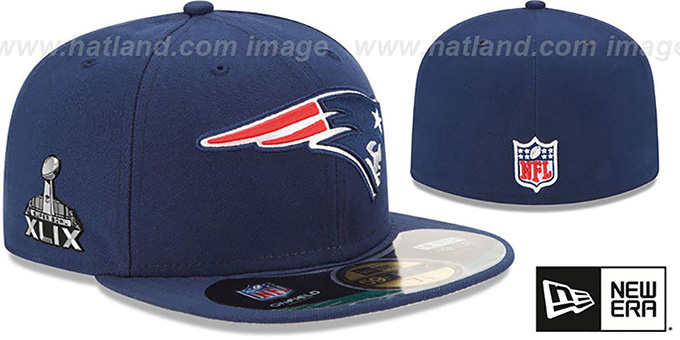 Patriots 'NFL SUPER BOWL XLIX ONFIELD' Navy Fitted Hat by New Era : pictured without stickers that these products are shipped with