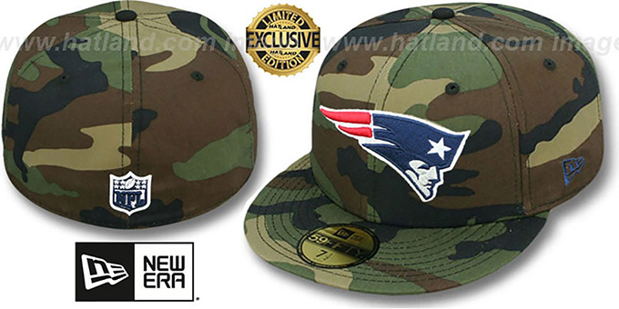 Patriots 'NFL TEAM-BASIC' Army Camo Fitted Hat by New Era : pictured without stickers that these products are shipped with