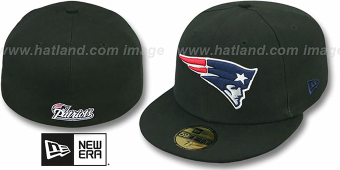 Patriots 'NFL TEAM-BASIC' Black Fitted Hat by New Era : pictured without stickers that these products are shipped with