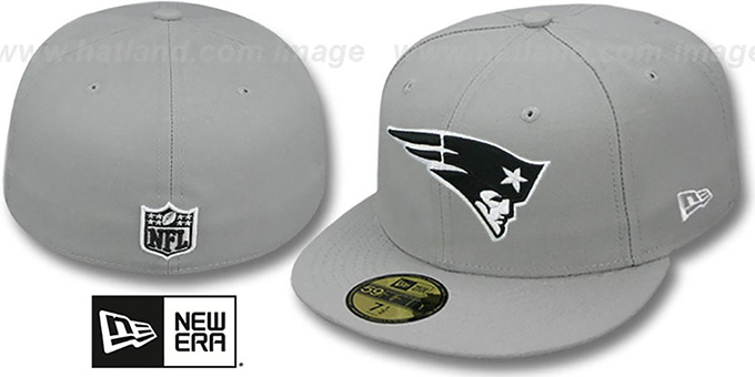 Patriots 'NFL TEAM-BASIC' Grey-Black-White Fitted Hat by New Era : pictured without stickers that these products are shipped with