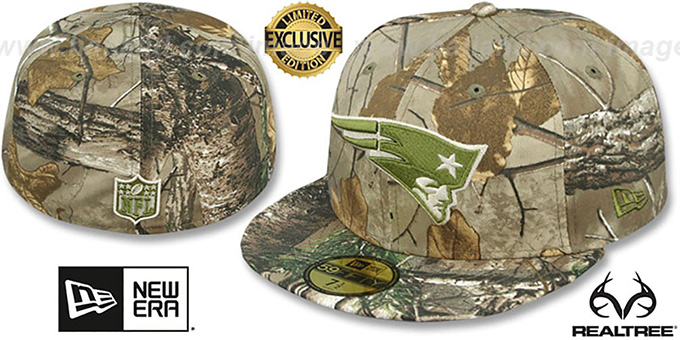 Patriots 'NFL TEAM-BASIC' Realtree Camo Fitted Hat by New Era : pictured without stickers that these products are shipped with