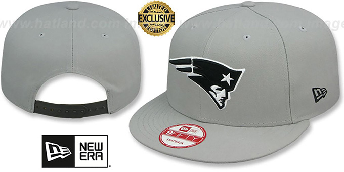Patriots 'NFL TEAM-BASIC SNAPBACK' Grey-Black Hat by New Era : pictured without stickers that these products are shipped with