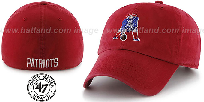 Patriots 'NFL THROWBACK FRANCHISE' Red Hat by 47 Brand : pictured without stickers that these products are shipped with