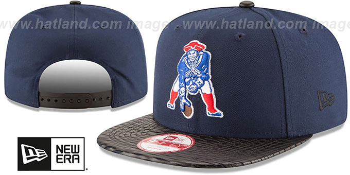 Patriots 'NFL THROWBACK LEATHER-RIP SNAPBACK' Navy-Black Hat by New Era : pictured without stickers that these products are shipped with