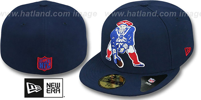Patriots NFL THROWBACK 'MIGHTY-XL' Navy Fitted Hat by New Era : pictured without stickers that these products are shipped with