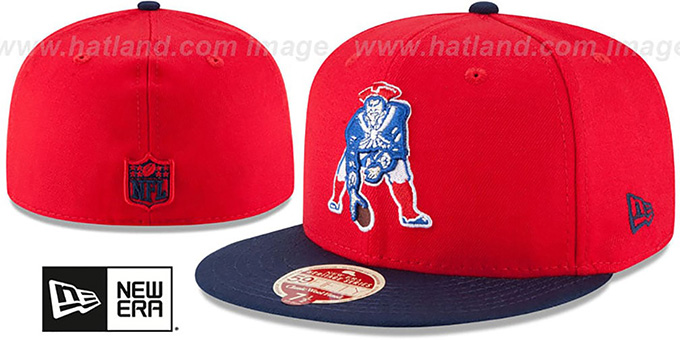 Patriots 'NFL THROWBACK WOOL-STANDARD' Red-Navy Fitted Hat by New Era : pictured without stickers that these products are shipped with
