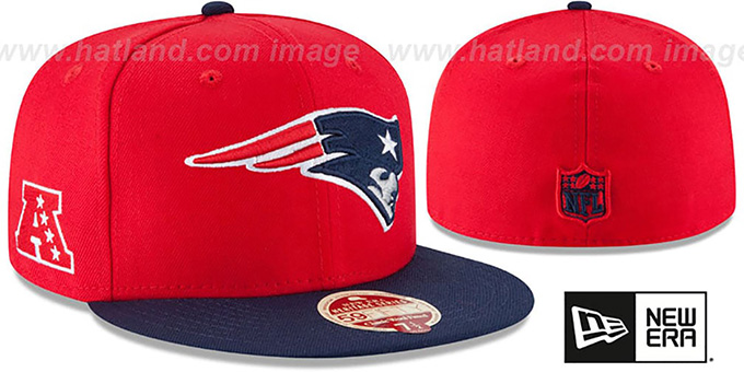 Patriots 'NFL WOOL-STANDARD' Red-Navy Fitted Hat by New Era : pictured without stickers that these products are shipped with