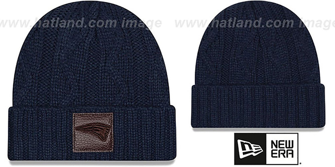 Patriots 'OHANA' Navy Knit Beanie Hat by New Era : pictured without stickers that these products are shipped with