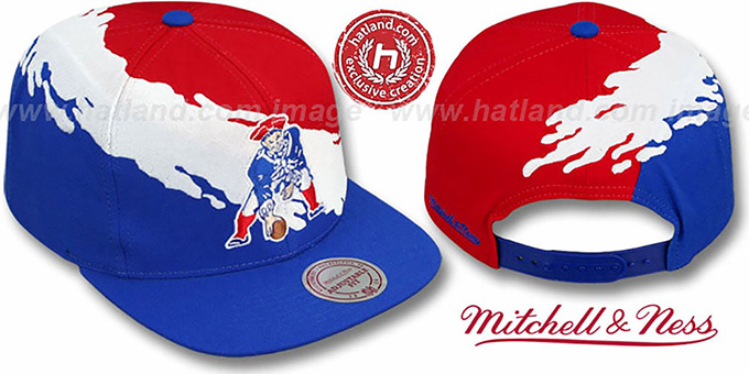 Patriots 'PAINTBRUSH SNAPBACK' Red-White-Royal Hat by Mitchell & Ness : pictured without stickers that these products are shipped with