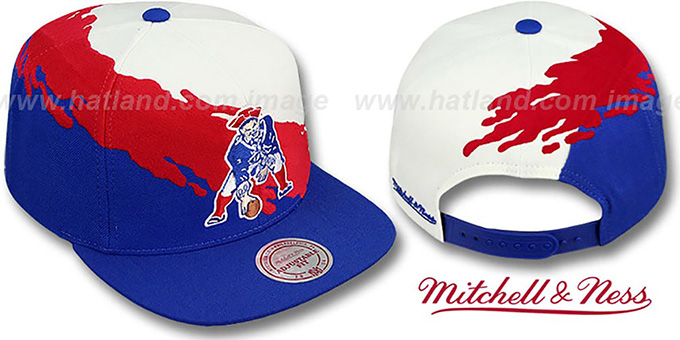 Patriots 'PAINTBRUSH SNAPBACK' White-Red-Royal Hat by Mitchell & Ness : pictured without stickers that these products are shipped with