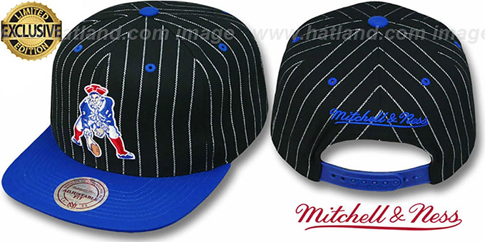 Patriots 'PINSTRIPE 2T TEAM-BASIC SNAPBACK' Black-Royal Adjustable Hat by Mitchell & Ness : pictured without stickers that these products are shipped with