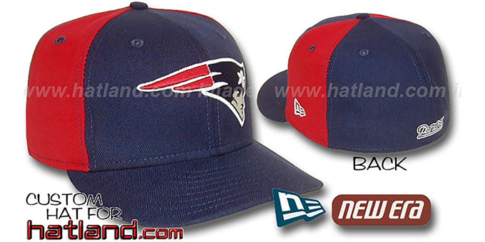 Patriots 'PINWHEEL-2' Navy-Red Fitted Hat : pictured without stickers that these products are shipped with