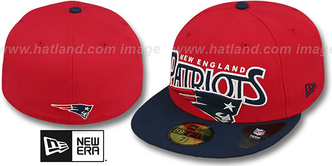 Patriots 'PROFILIN' Red-Navy Fitted Hat by New Era : pictured without stickers that these products are shipped with