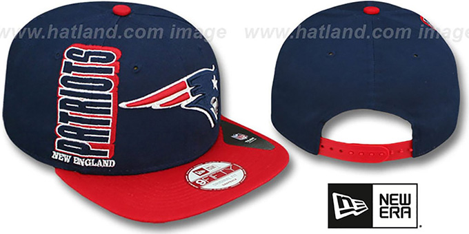 Patriots 'RALLYMARK SNAPBACK' Navy-Red Hat by New Era : pictured without stickers that these products are shipped with